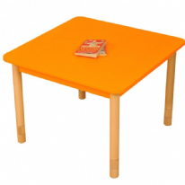 Height Adjustable Beechwood Square Table Orange